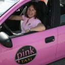 pink, roze, taxi, cab, lady, vrouwen