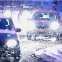 sneeuw, verkeer, spits