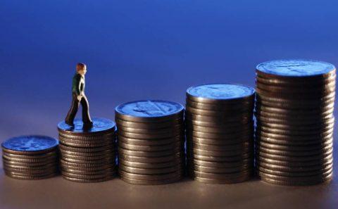 stijging, salaris, geld, munten