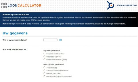 looncalculator, Sociaal Fonds Taxi, CAO