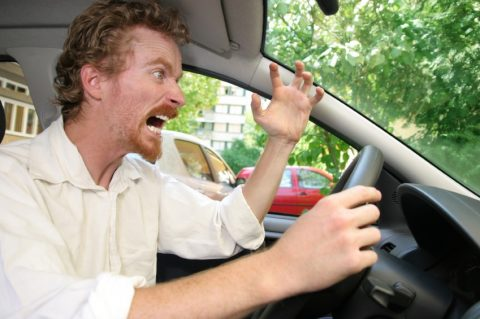 automobilist, gefrustreerd, kwaad