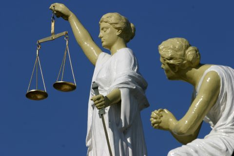 Vrouwe Justitia, Justitie, rechtbank