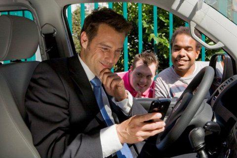 taxichauffeur, passagier