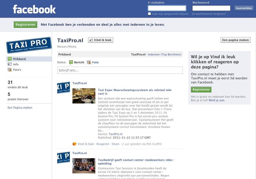 Facebook, TaxiPro.nl   TaxiPro