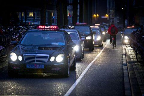 taxi, rij, amsterdam, tca, avond, taxichauffeur