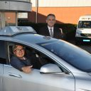 TBO Texel, Tesla Model S, elektrische taxi, wethouder Eric Hercules, Foto: Frank Grootemaat / Texelse Media BV