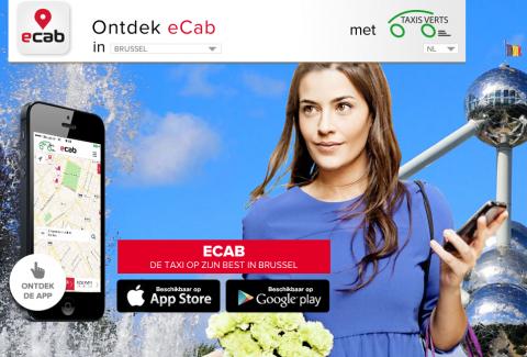 E-cab, app, taxi, Brussel, Parijs