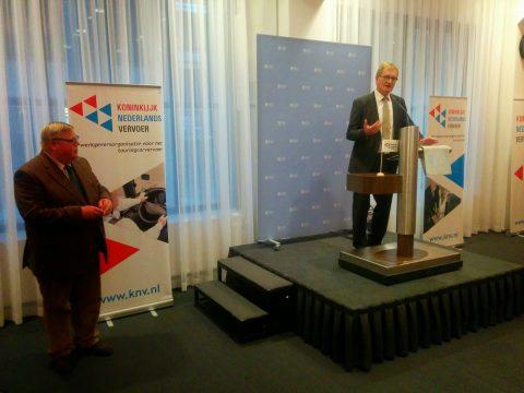 KNV Nieuwjaarsreceptie, Hans de Boer, voorzitter VNO NCW, Pieter Hofstra, voorzitter KNV
