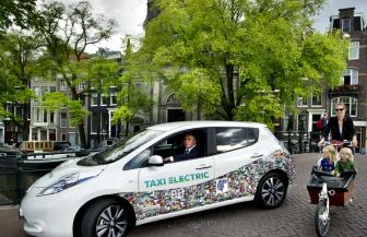 Taxi Electric, elektrische taxi, Amsterdam, Nissan Leaf