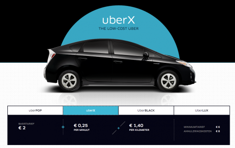 UberX, Amsterdam, tarief, taxi