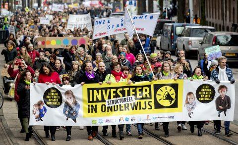 Onderwijsstaking. Foto: ANP / Koen van Weel